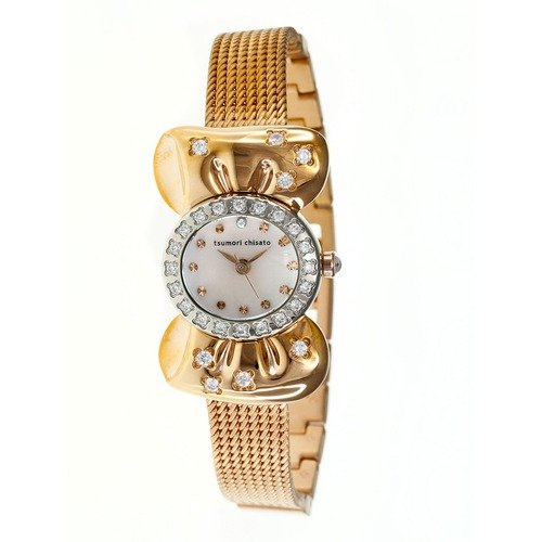 Tsumori Chisato Ribbon Ladies Watch with Rose Gold Metal Band and Crystal Bezel