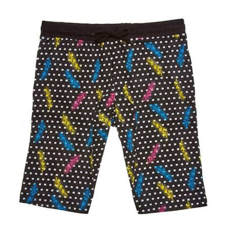 Thrill Mens Drawstring Feather Pattern Knit Shorts With Flap