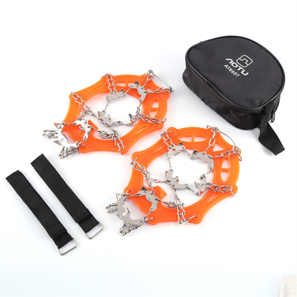 19 Teeth Anti-skid Climbing Crampons Footwear Ice Tractio...