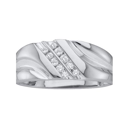 10kt White Gold Mens Round Diamond 2-row Wedding Anniversary Band Ring 1/8 Cttw Diamond Fine Jewelry Ideal Gifts For Mens Gift Set From Heart
