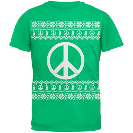 Peace Sign Ugly Christmas Sweater Green Adult T-Shirt](Ugly Sweater Theme)