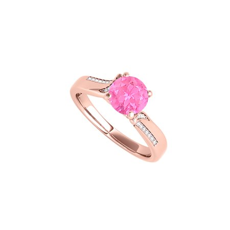 Round Shaped Pink Sapphire and CZ Engagement Ring - image 5 of 5