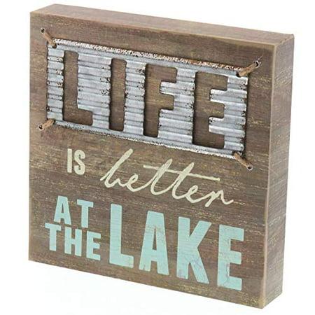 - Barnyard Designs Life Is Better At The Lake Box Sign Decorative Rustic Wood Lake House Cabin Home Wall Decor 8