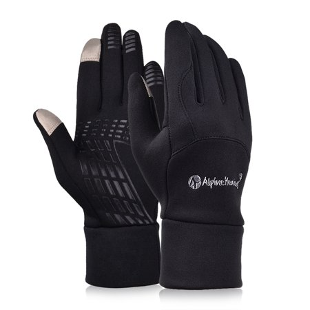 Outdoor Touch Screen Gloves for Driving Riding Warmness, Fleece Gloves Unisex Style in Black in XL Size
