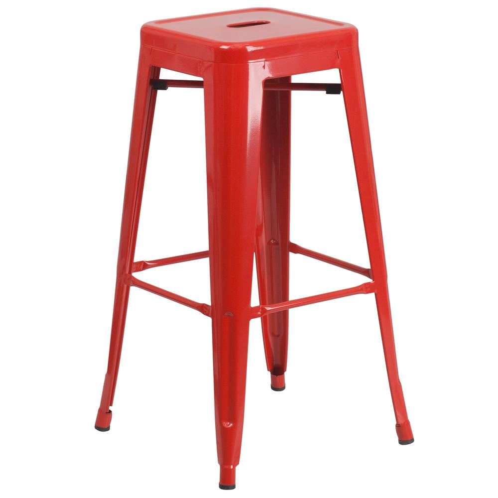 30'' High Backless Red Metal Indoor-Outdoor Bar Stool with Square Seat by