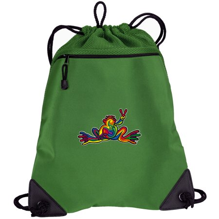 peace frog drawstring bags peace frogs cinch backpacks - unique mesh & microfiber - Cinch Backpack