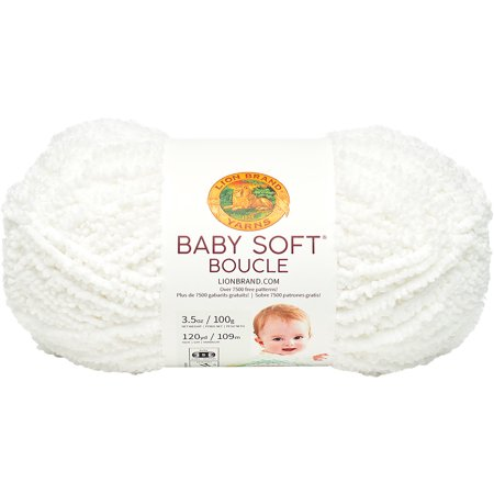 - Lion Brand Baby Soft Boucle Yarn-White