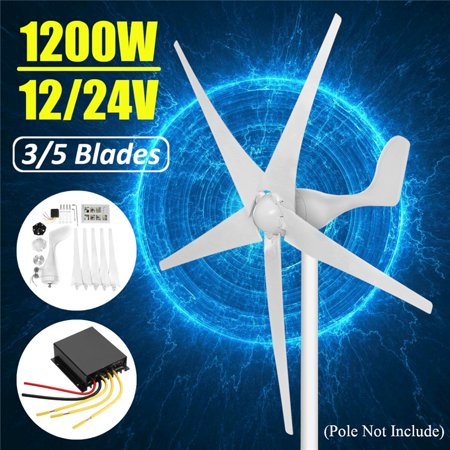 1200W Wind Turbine Generator 12-24V 3/5 Blades With Controller 5 Blades (Diameter of the wind wheel is (Best Motor To Use For Wind Generator)