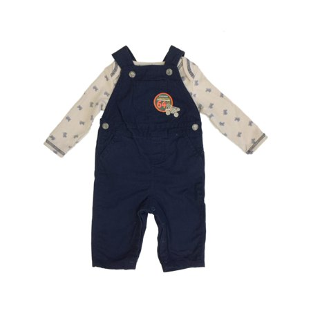 Infant Boys Baby Outfit Construction Dump Truck Long Sleeve Shirt & Overall Set