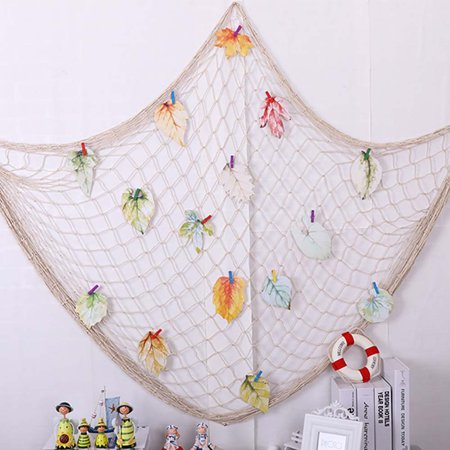 Beach Theme Parties (FeelGlad 78 Inch Creamy White Fishing Net Beach Theme Decor for Party Home Living Room Bedroom  Mediterranean Style Decor Wall)