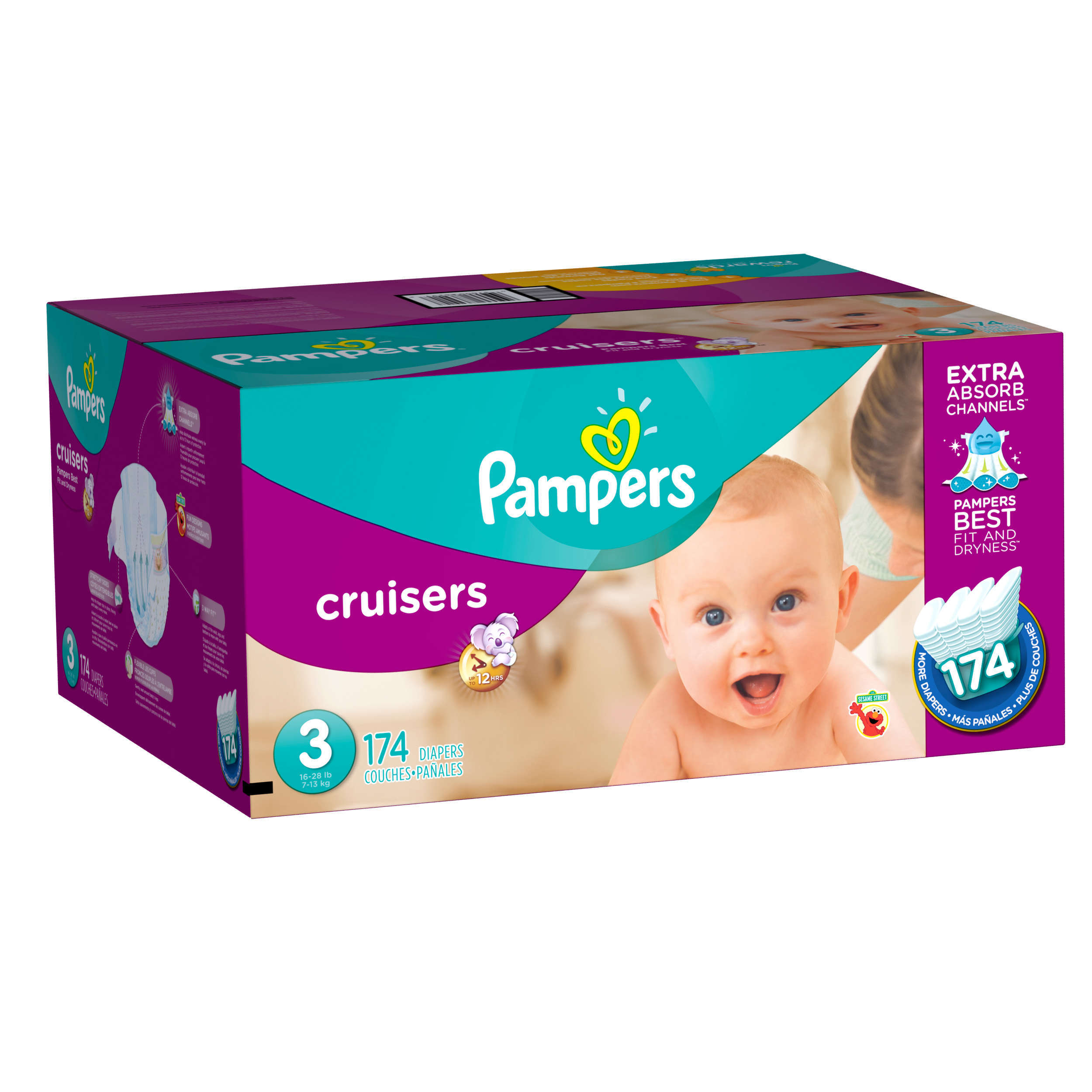 Pampers Cruisers Diapers, Size 3, 92 Diapers