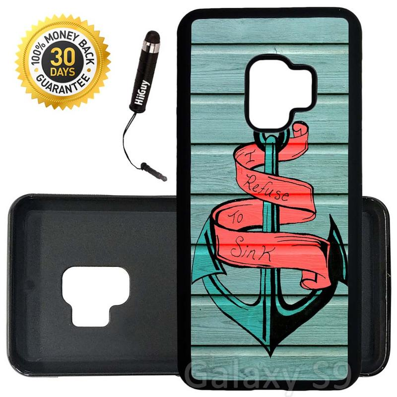 Custom Galaxy S9 Case (Mint Wood Striped Anchor) Edge-to-Edge Rubber Black Cover Ultra Slim | Lightweight | Includes Stylus Pen by Innosub