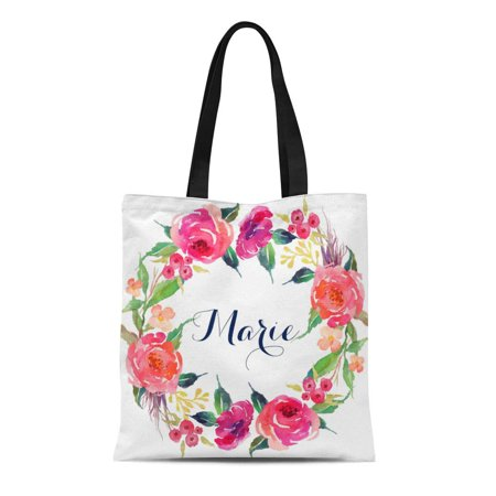 ASHLEIGH Canvas Tote Bag Watercolor Bridesmaid Personalized Floral Tote Wreath Bridemaids Bridal Reusable Handbag Shoulder Grocery Shopping Bags](Personalized Bridesmaid Bags)