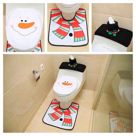 New Snowman Santa Toilet Seat Cover and Rug Set for Bathroom Christmas Decorations Set of 3