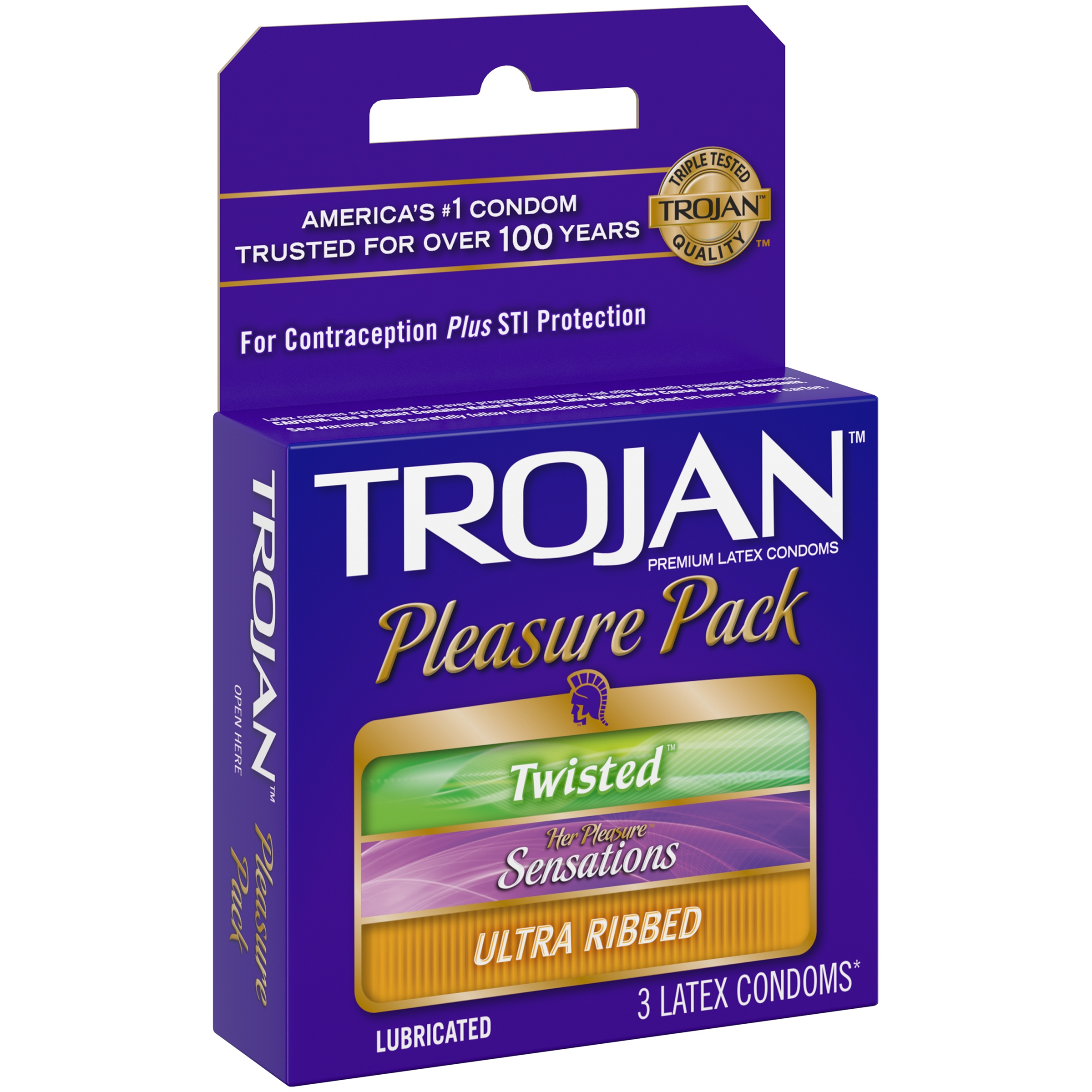 Trojan Pleasure Pack Assorted Lubricated Latex Condoms - 3 ct