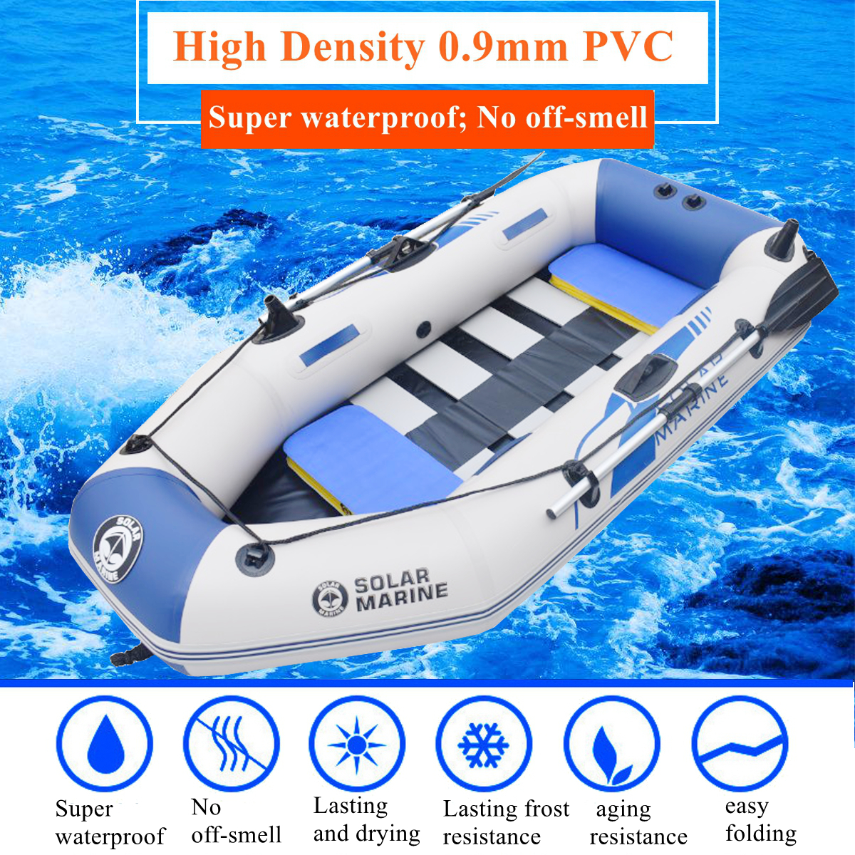7.5Ft 3-4 Person Inflatable Fishing Boat Set Kayak Dinghy Yacht Tender Pontoon with 2 Oars, Air Pump & Bag