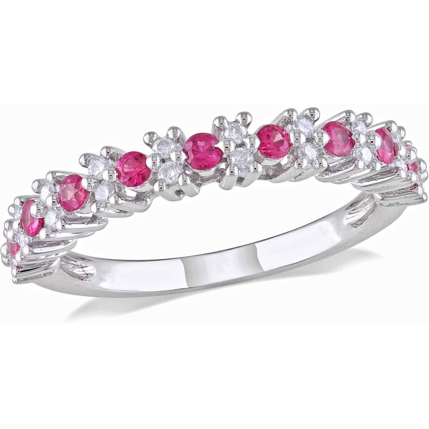 1 2 Carat T.G.W. Pink Sapphire and 1 6 Carat T.W. Diamond 10kt White Gold Semi-Eternity Anniversary Ring by Generic