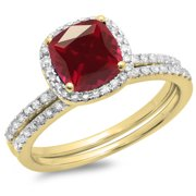 1.75 Carat (ctw) 18K Yellow Gold Cushion Cut Ruby & Round Cut White Diamond Ladies Bridal Halo Engagement Ring With Matc