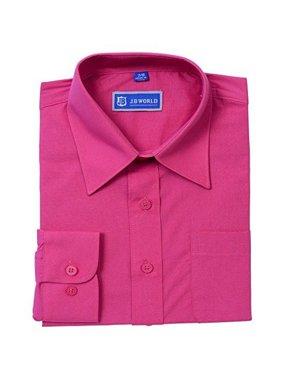 JB World Boys Fuchsia Long Sleeve Button Front Uniform Dress Shirt