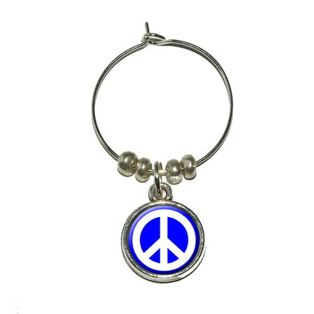 Peace Sign Glasses (Peace Sign Symbol - Blue Wine Glass)