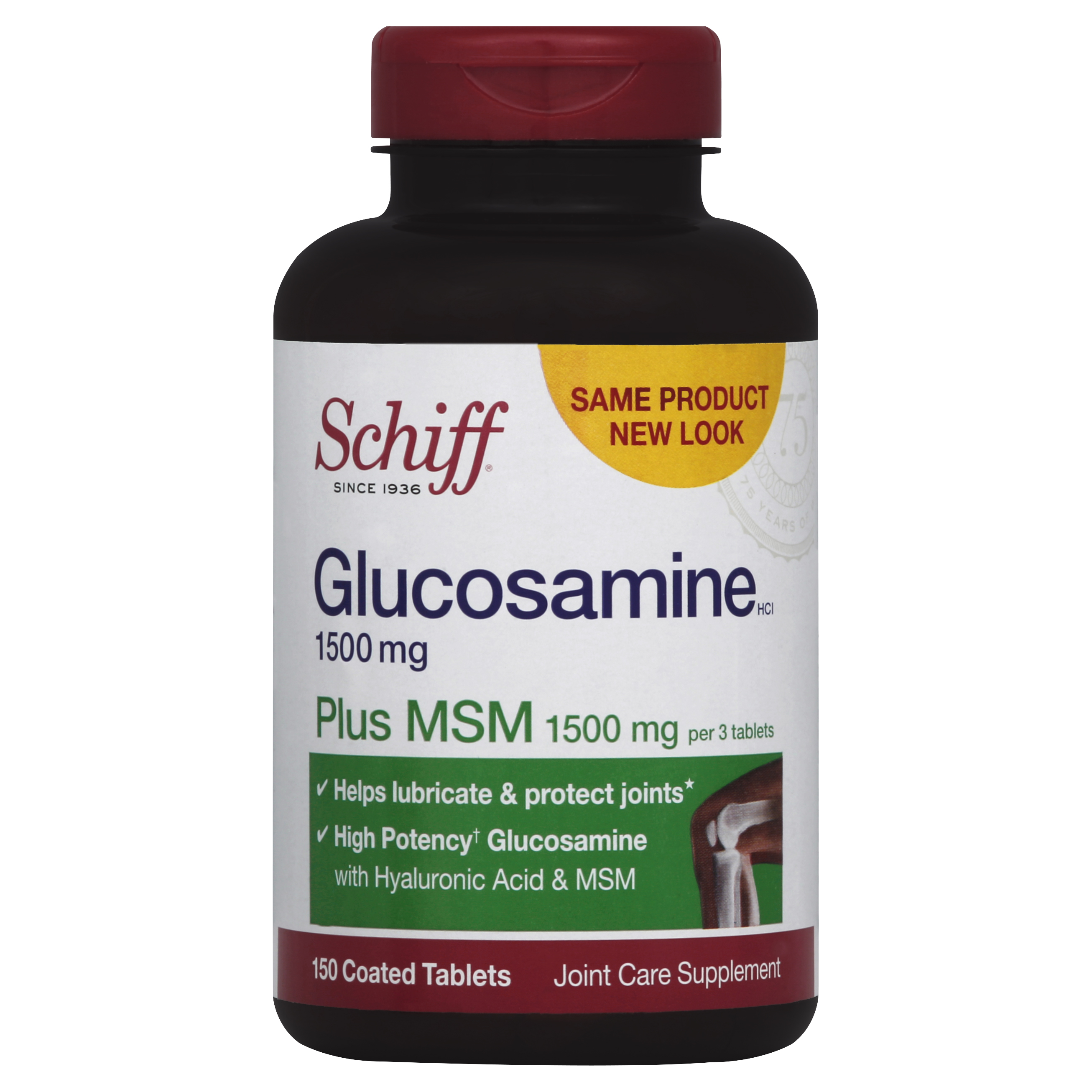 Schiff Glucosamine 1500mg Plus MSM 1500mg and Hyaluronic Acid, Joint Supplement, 150 Count