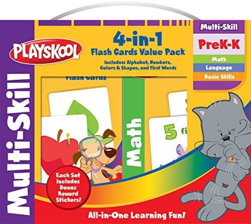 Playskool Flash Cards Set Alphabet Numbers Colors Shapes PreK-K Hasbro 6U25zp1