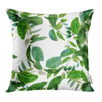 CMFUN Abstract Floral Pattern with Watercolor Green Leaves on Branches of Walnut Tree Pillowcase Cushion Cases 18x18 inch