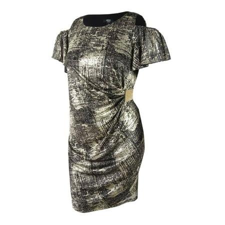 MSK - Msk Women\'s Plus Size Cold-Shoulder Faux-Wrap Dress (1X, Black/Gold)  - Walmart.com