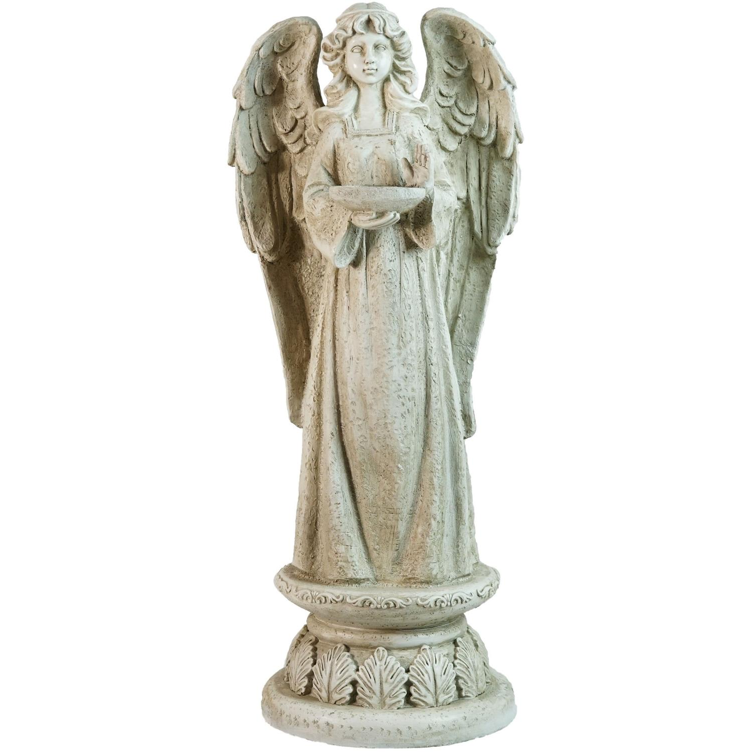 "Click here to buy 22.5"" Standing Religious Angel with Birdbath Votive Candle Holder Outdoor Garden Statue by Northlight."