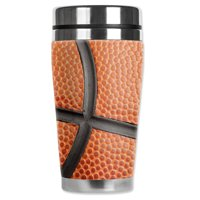 """Mugzie brand 20-Ounce """"MAX"""" Stainless Steel Travel Mug with Insulated Wetsuit Cover - Basketball Closeup"""