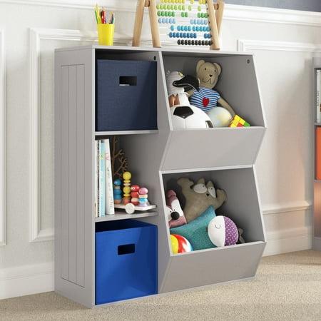 RiverRidge Kids 3-Cubby, 2-Veggie Bin Floor Cabinet - Gray