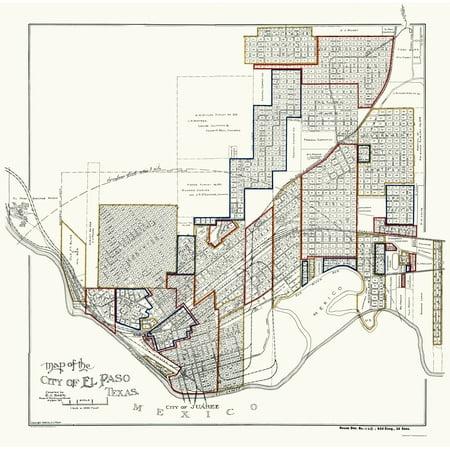Old City Map - El Paso Texas - Baer 1906 - 23 x 23.24 - Walmart.com