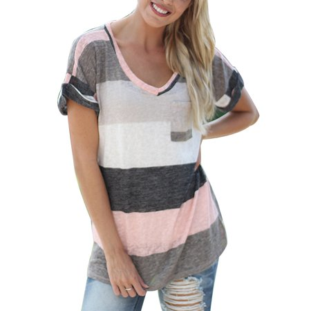 (Women Summer Short Sleeve T-shirt Blouse Loose Irregular Striped V Neck Tops Plus Size)
