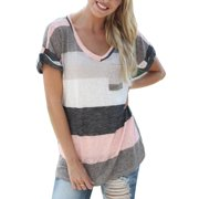 Women Summer Short Sleeve T-shirt Blouse Loose Irregular Striped V Neck Tops Plus Size