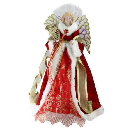 Northlight 16 in. Angel in Garnet Red Coat with Harp Pre Lit Tree Topper (Garnet Tree)