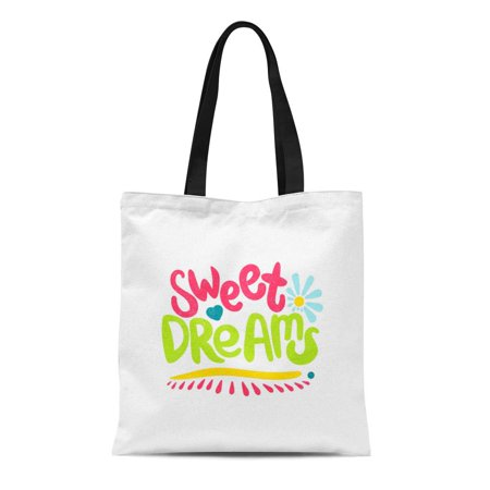 SIDONKU Canvas Tote Bag Sweet Dreams Bright Juicy Lettering Spring Flowers Hearts Durable Reusable Shopping Shoulder Grocery (Juicy Heart)