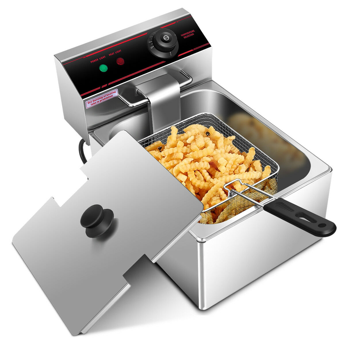 Gymax 2500W Deep Fryer Electric Commercial Tabletop Restaurant Frying w/ Basket Scoop