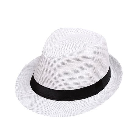 Outtop Children Kids Summer Beach Straw Hat Jazz Panama Trilby Fedora Hat Gangster Cap
