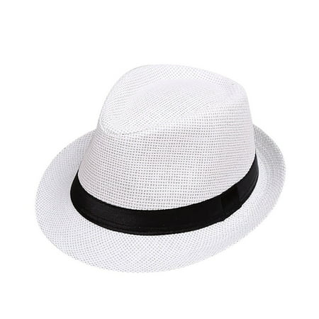 Old Gangster Hats (Outtop Children Kids Summer Beach Straw Hat Jazz Panama Trilby Fedora Hat Gangster)