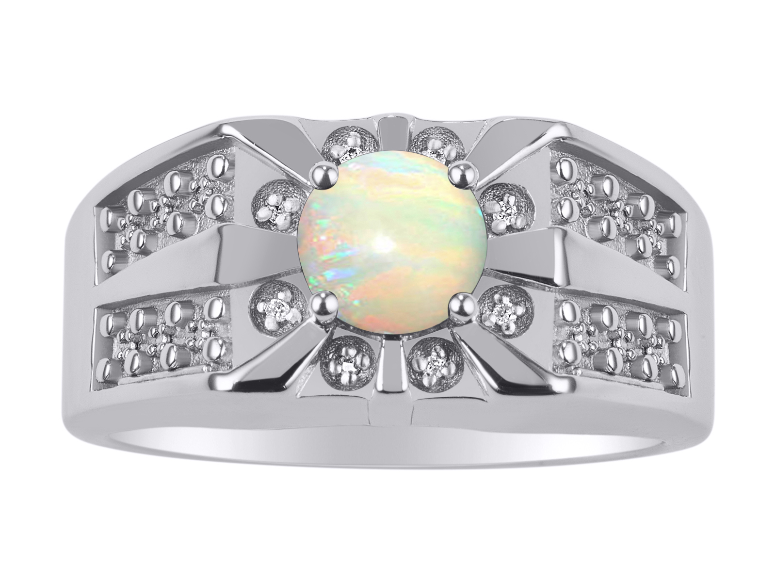 Details about  /Beautiful 3 White Stones Opal Microwave  Ring Sterling Silver.925 Size 5 To 10