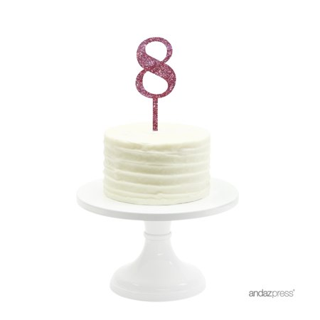 Pink Glitter Number 8 Acrylic Birthday Cake Topper