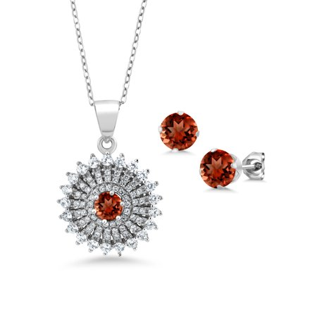 - 2.37 Ct Round Red Garnet 925 Sterling Silver Pendant Earrings Set