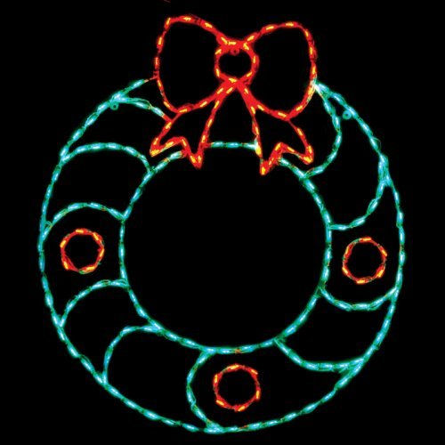 46 in. Outdoor LED Wreath with Bow Display - 200 Bulbs