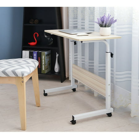 Removable Trolley Laptop Notebook Table Desk Height Adjustable Workstation Notebook Cart Over Bed Table for Home Office