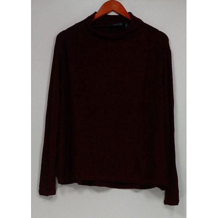 - Anybody Sz XXS Ribbed Brushed Hacci Knit Funnel Neck Sweater Brick Red A297306