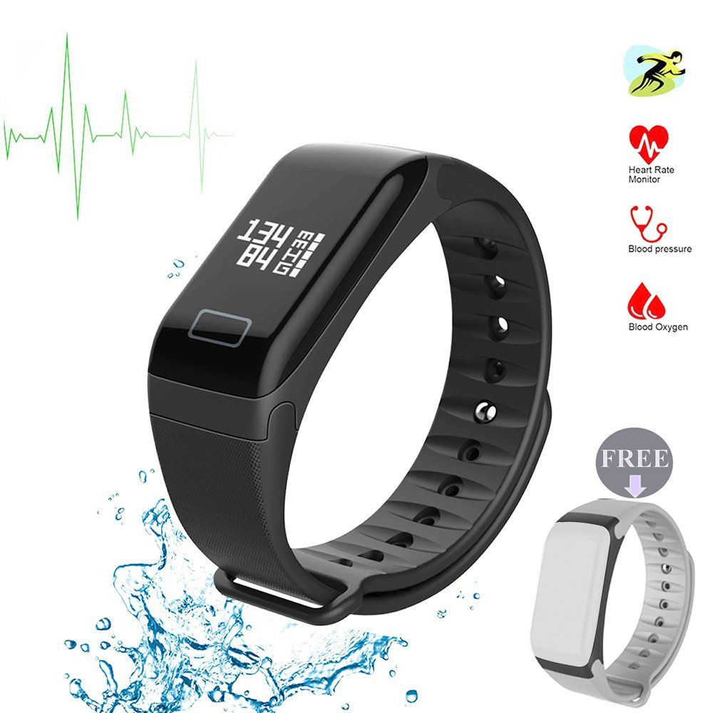 Fitness Tracker Fitness Watch Smart Bracelet with Heart Rate Moniter Blood Pressure Blood Oxygen Pdeometer Sleep Monitoring Calories Track for Daily Activity and Sleeping-Black