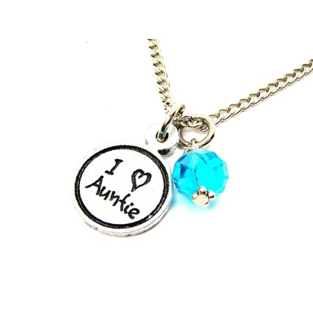Aqua Pendant Necklace (Chubby Chico Charms I Love Auntie Child Handwriting 18