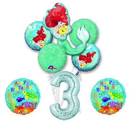 NEW! Ariel Little Mermaid Disney Princess Undersea 3rd BIRTHDAY PARTY Balloon - Ariel Birthday Decorations