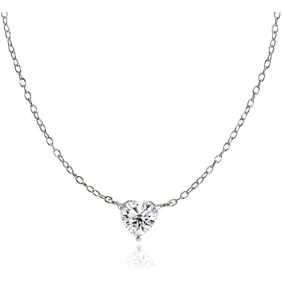 CZ Sterling Silver Small Dainty Heart Choker Necklace
