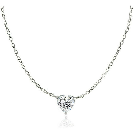 CZ Sterling Silver Small Dainty Heart Choker Necklace](Cheap Necklaces)